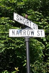 The corner of Short and Narrow (Roxie Lune) Tags: anniversary streetsign short narrow frankfort northernmichigan cornerofshortandnarrow