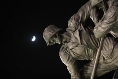 Iwo Jima Memorial Crescent Moon - by ehpien