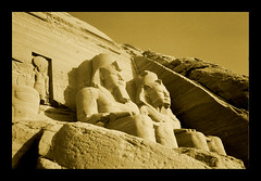 Abu Simbel. Egypt.- (ancama_99(toni)) Tags: pictures africa old trip travel vacation sculpture holiday color art nature monochrome yellow sphinx sepia architecture photoshop vintage geotagged photography photo interestingness interesting ancient king arte desert pyramid photos egypt picture esculturas mosque photographic nile escultura explore cairo estatuas egyptian temples pyramids egipto aswan sculptures giza egitto egipte ramsesii egypte 2007 1000views afrique  abusimbel pharoh ramessesii supershot 10favs 10faves egyptien 123bw 25favs ramsesthegreat 25faves sungods impressedbeauty holidaysvacanzeurlaub superbmasterpiece blackribbonbeauty ancama99 interesantsimo saariysqualitypictures
