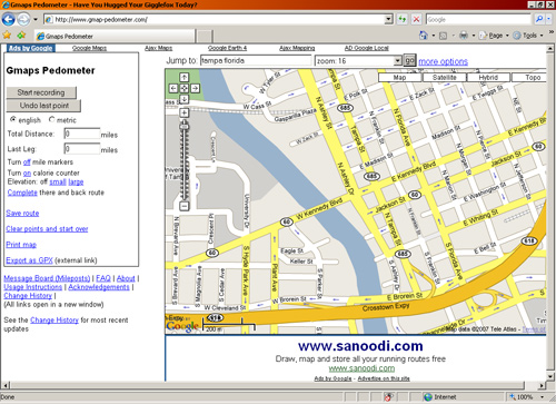 Gmap-pedometer.com screenshot