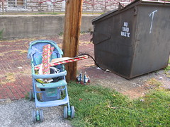 trashed stroller and skates (MBK (Marjie)) Tags: dumpster alley stlouis missouri mbk discarded