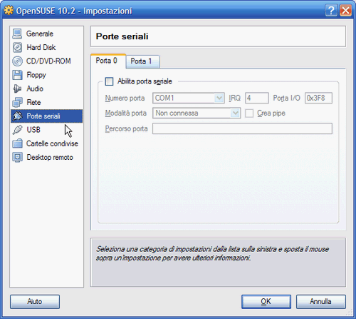 Fig. 6 - VirtualBox 1.5 - Supporto porte seriali