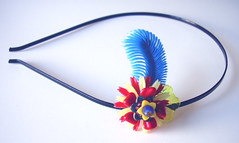 Blue, Yellow and Red Vintage Flowers Headband