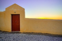 Sunset Entrance Way (Michael Rugosi) Tags: door wood trip sunset vacation sky wall colours cement plaster santorini greece