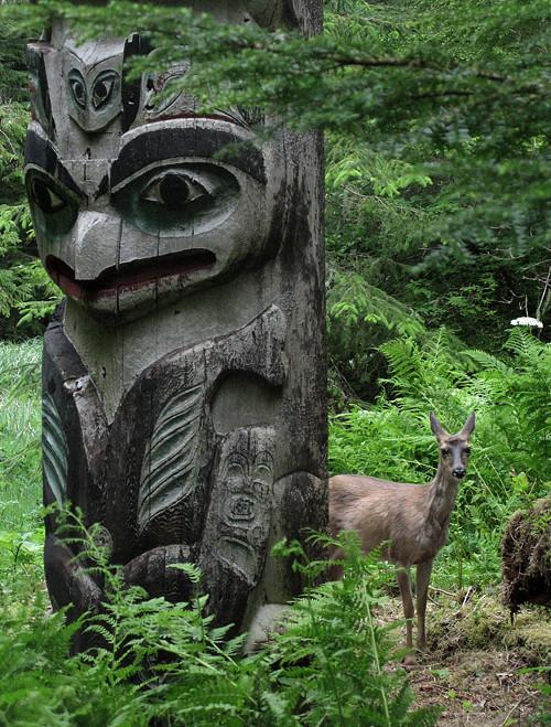 deer and totem pole, Kasaan Totem Park, Kasaan, Alaska