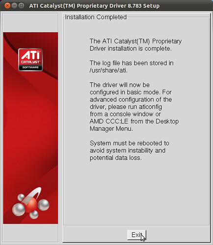 Figura 7 - Installazione Driver ATI Catalist completata;