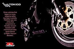 Suzuki Brakes (Rick Wilks) Tags: black bike race magazine nikon track motorbike add 600 advert motorcycle brakes suzuki 1000 gsx discs gsxr 1100 750 d300 gixxer tokico