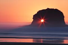 Twin Rocks (lonely one ) - Oregon  Part Two (janusz l) Tags: statepark sunset sea beach grass oregon coast path 101 coastal rays manual garibaldi hdr pathway rockaway twinrocks janusz nehalembay parttwo leszczynski rockwiththehole 224843