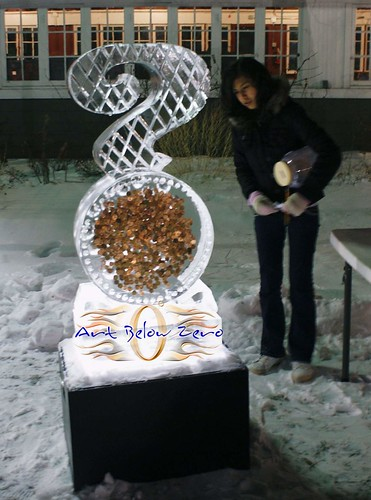 Guess how many coins? ice sculpture