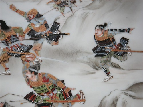 Detail from Meiji Porcelain Plaque or Painting of Gilded Samurai Warriors in Battle... probably the Battle of Ishibashiyama in 1180.