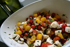 caprese salad with homegrown cherry tomatoes