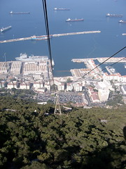 Looking down on Gibraltar dockyard from the cable car