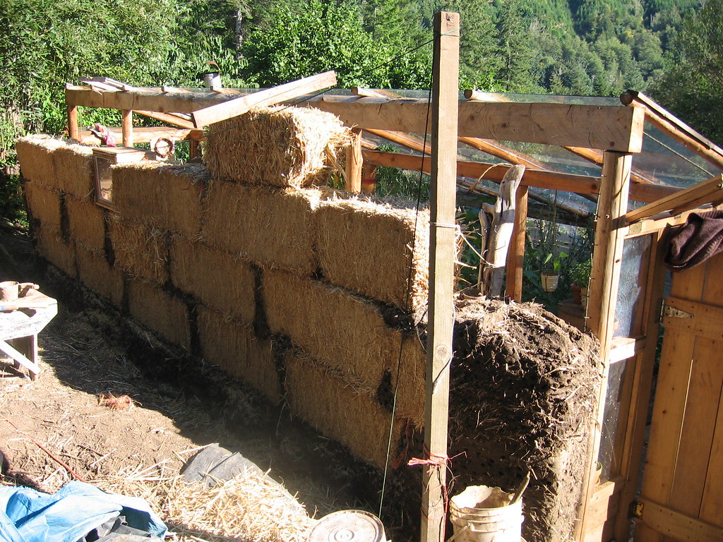 Bale Cob Greenhouse Wall