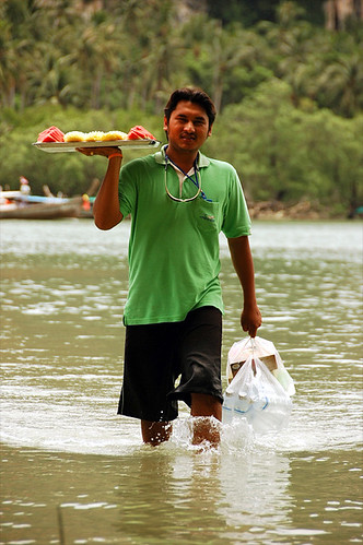 waiter in the sea