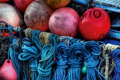 ropes and buoys (petervanallen) Tags: blue sea boats sailing ship magenta rope maritime ropes buoys buoy