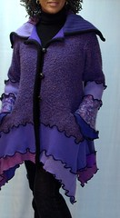 Purple Sweater Coat (brendaabdullah) Tags: wool recycled sweaters womens fuschia scarves jackets pieced brendaabdullah