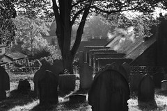 Morning watchers (ammgramm) Tags: uk morning houses england blackandwhite bw sun sunlight mist tree graveyard morninglight blackwhite peace cheshire terrace smoke peaceful sunny calm graves roofs goldenhour sandbach