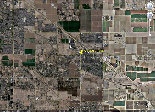 land use in and around Queen Creek (via Google Earth)