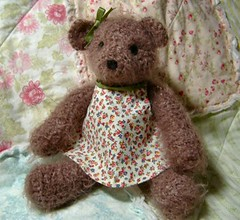 Gretchen - crochet bear with a pretty little dress