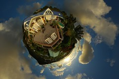 Sunset (gadl) Tags: sunset panorama house soleil tripod coucher gimp projection maison coucherdesoleil 360 sintmaarten stereographic hugin enblend colebay mathmap almondgrove stereographicprojection 303sph