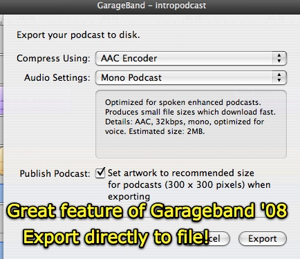 GarageBand Export to Enhanced Podcast File
