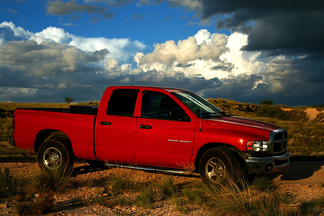 red truck pickup dodge ram