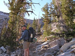 On the south side of Cramer Divide - still in sunshine (and shorts!)