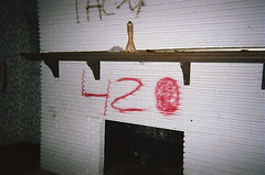 Abandoned. (Taylor LaShae) Tags: camera wallpaper white lake building abandoned film fire weed fireplace texas place head bricks houston 420 clear pot smokey mantle