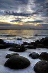 Punggol boulders (Len Langevin) Tags: ocean sunset sea seascape landscape nikon singapore view malaysia punggol tropical hdr d300