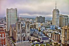 A View from Top of the Mark in San Francisco (Samantha Decker) Tags: sanfrancisco california ca fog photoshop canon eos rebel chinatown f14 sigma adobe dslr postprocess nobhill gracecathedral cs4 30mm 500d digitalsinglelensreflex topazadjust samanthadecker t1i