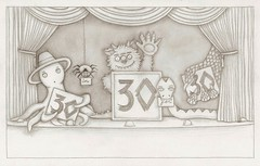 Monsterpiece Theatre (kristindudish) Tags: art pencil spider blog theater theatre drawing snake stage sketchbook squid octopus curtains monsters