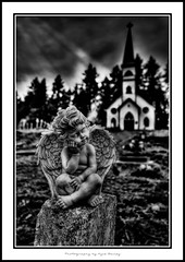 St. Annes Catholic Church / HDR / Duncan / BC / Black and White / B&W / Cemetery / Angel / Tombstone / Death / Heaven / Sunbeam / Natural Light / Light / Kyle Bailey / Vancouver Island (Kyle Bailey - Da Big Cheeze) Tags: blackandwhite bw inspiration church cemetery grave statue architecture angel canon death wings catholic bc god faith duncan hdr highdynamicrange cowichan stanns tzouhalem quamichan canoneos7d canon7d wwwrookiephotocom