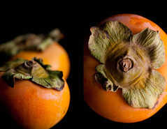 Persimmons | The Fruit of the Gods [Explored] (Gourmande in the Kitchen) Tags: orange fruit diptych sweet persimmon foodphotography inseason fuyupersimmon fruitofthegods ef100mmf28lisusmmacro freshanduncooked