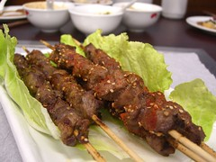 Lamb Skewers - Little Lamb Mongolian Hotpot, Box Hill (avlxyz) Tags: food casio lamb xinjiang uyghur exilim skewer skewers mongolian z850