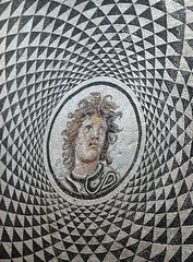 Getty Villa - Medusa Mosaic (Marshall Astor - Food Fetishist) Tags: museum triangles tile pattern mosaic circles getty psychedelic artmuseum medusa mosaictile gettyvilla