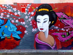 chippendale graffiti (yewenyi) Tags: woman art face sign wall painting japanese graffiti painted tag australia nsw newsouthwales chippendale aus airvent hairstyle wallpainting hairpin oceania cherryblossum notstopping hairknot
