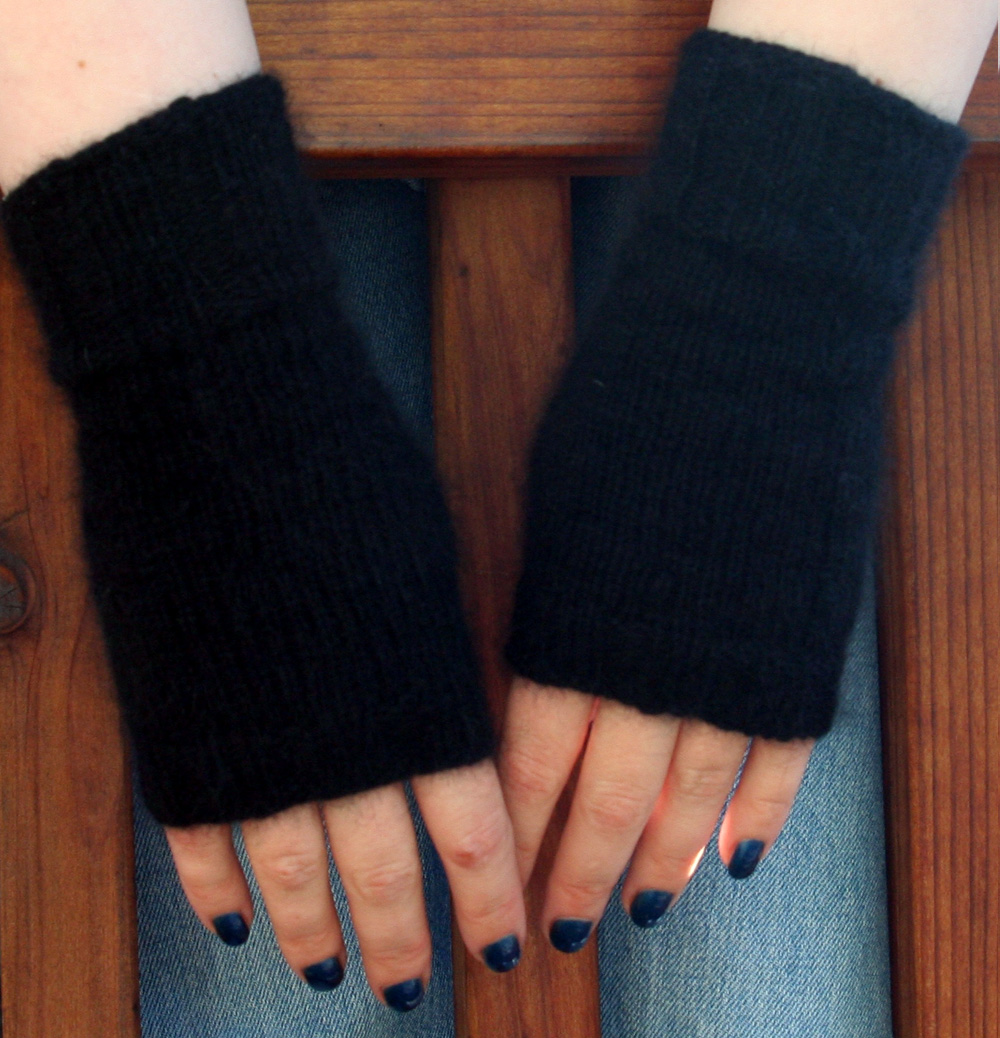 Fuzzy angora mitts