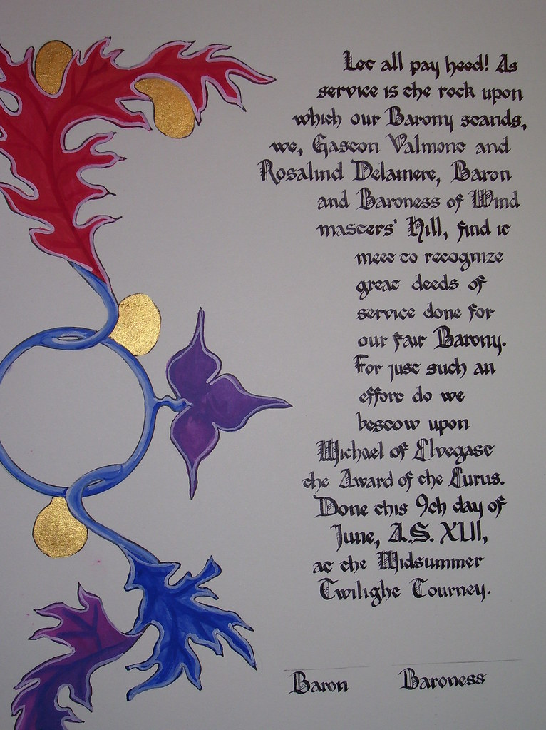 Eurus for Michael of Elvegast. My third attempt at calligraphy. Illumination by Lady Tessa de Spina.