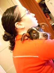 dos cabezas en un mismo cuerpo... (Marez Lorena) Tags: red dog argentina look familia reina mujer rojo buenosaires chica amor perro canino mimosa mirada lentes amistad anteojos sudamerica mirando cario memorycornerportraits marezlorena