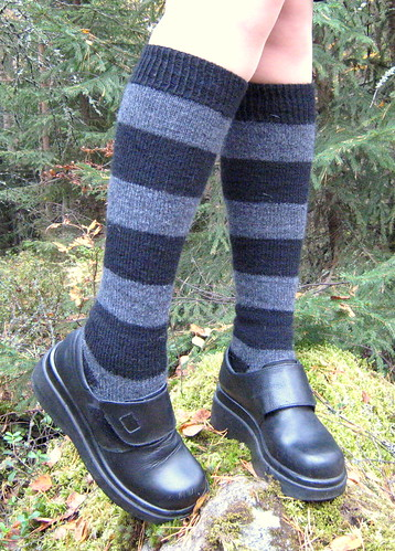 Grey & Black Knee Highs