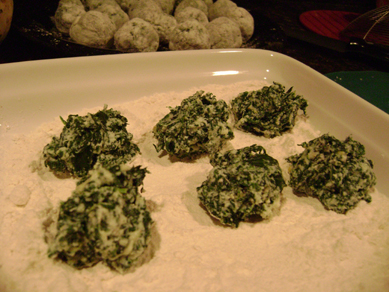 spinach ricotta gnocchi in the making