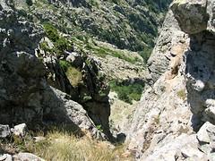 Ravin vertical à gauche des bergeries donnant sur le vallon de Coracchia