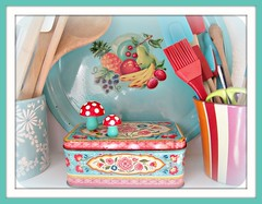 aqua and red in my kitchen (Pinks & Needles (used to be Gigi & Big Red)) Tags: flowers red utensils mushroom kitchen fruit vintage cherry tin happy rainbow colorful aqua antique cook retro scissors decor bake baste spatula whisk crock woodenspoons craftsty