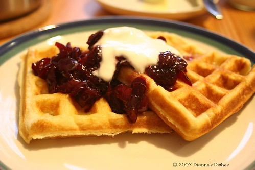 Buttermilk Waffles with Cherries and Sweetened Cream