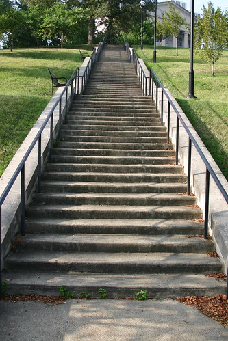 The shorter set of stairs