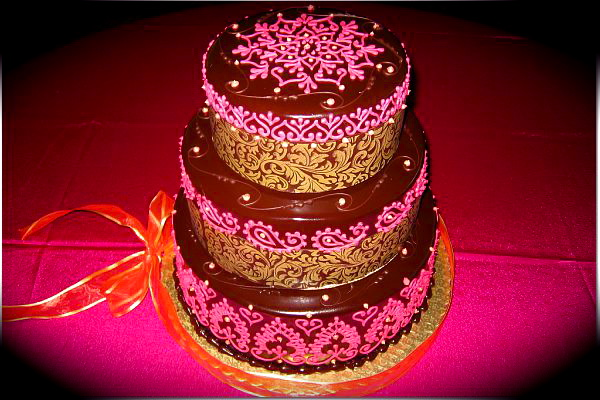 Paisley Mehndi Cake : My first share an indian henna themed cake cakecentral