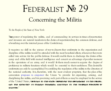 Federalist № 29, on federali.st