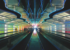airport (carrie227) Tags: chicago airport rainbow neon movingwalkways barbash carriebarbash