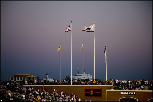 sunset over McCovey Cove