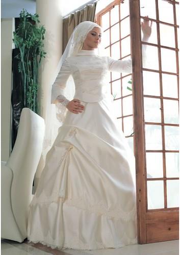 elegant white Muslim wedding gown